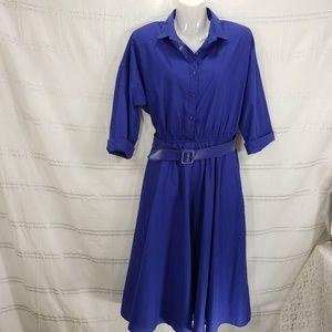 Vintage Blue Shirt Dress Belted Midi